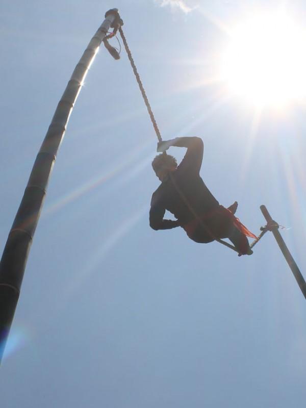 Lais sedang bersantai di atas tali